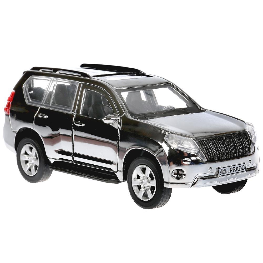 Купить Металлическая инерционная модель – Toyota Prado, хром серебристый, 12 см, открываются двери и багажник, Технопарк