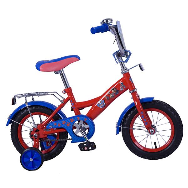 Купить Велосипед детский с дизайном Щенячий патруль, колеса 12 , GW-стальная рама, щиток на руле, багажник, страховочные колеса, цвет – красно-голубой