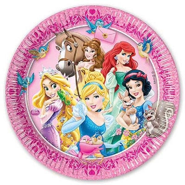 Купить Набор из 8 бумажных тарелок серии Принцессы и животные, размер 23 см., Procos