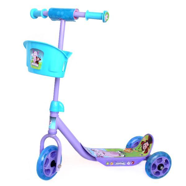 Трехколесный самокат с корзиной – Лунтик, колеса 14,5 и 12 см, фиолетово-голубой