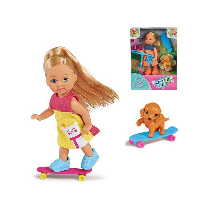 Кукла Еви на скутере и скейте с собачкой, 2 вида