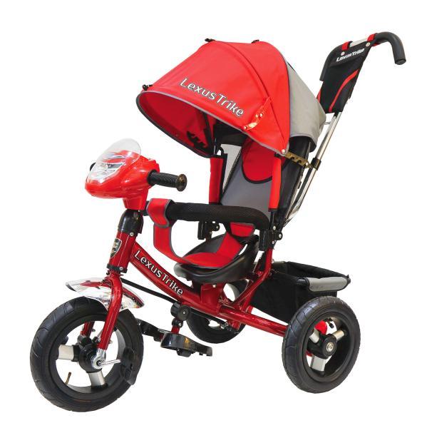 Велосипед 3-колесный, с резиновыми надувными колесами 12 и 10 дюймов, регулируемая спинка, задний тормоз, светомузыкальная панель, цвет – красныйВелосипеды детские<br>Велосипед 3-колесный, с резиновыми надувными колесами 12 и 10 дюймов, регулируемая спинка, задний тормоз, светомузыкальная панель, цвет – красный<br>