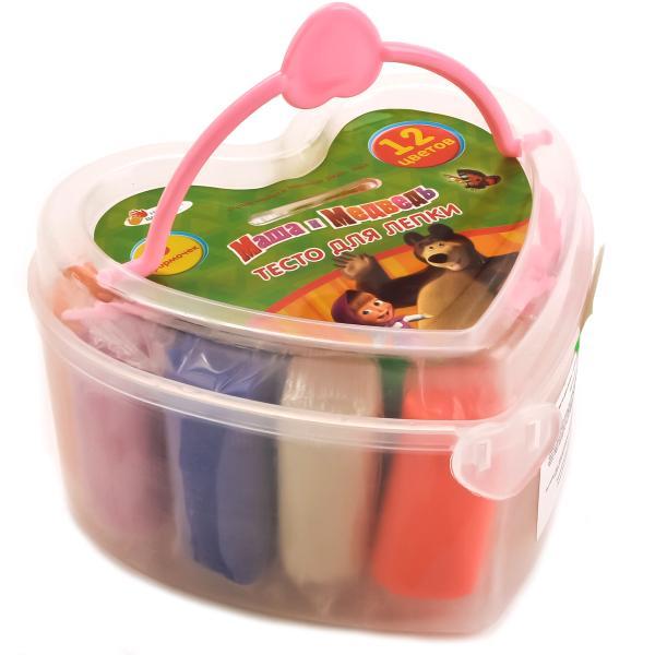 Купить со скидкой Набор Маша и Медведь - Тесто для лепки, 12 цветов, 6 формочек