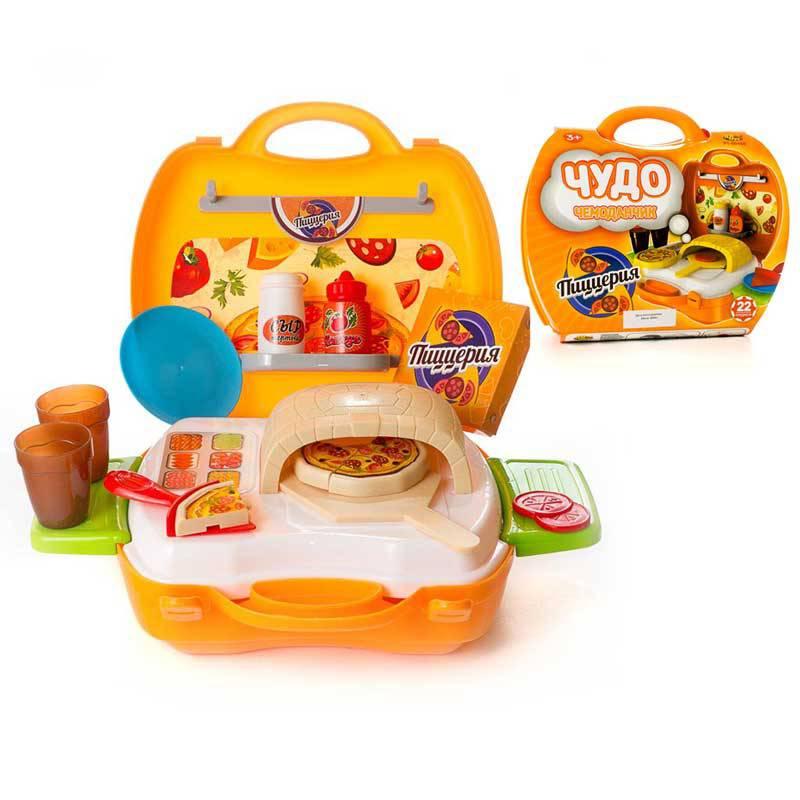 Игровой набор - Чудо-чемоданчик - Пиццерия, 22 предметаАксессуары и техника для детской кухни<br>Игровой набор - Чудо-чемоданчик - Пиццерия, 22 предмета<br>