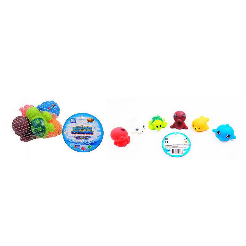 Купить Набор резиновых морских обитателей для ванной из серии Веселое купание, 6 предметов, в сетке, ABtoys