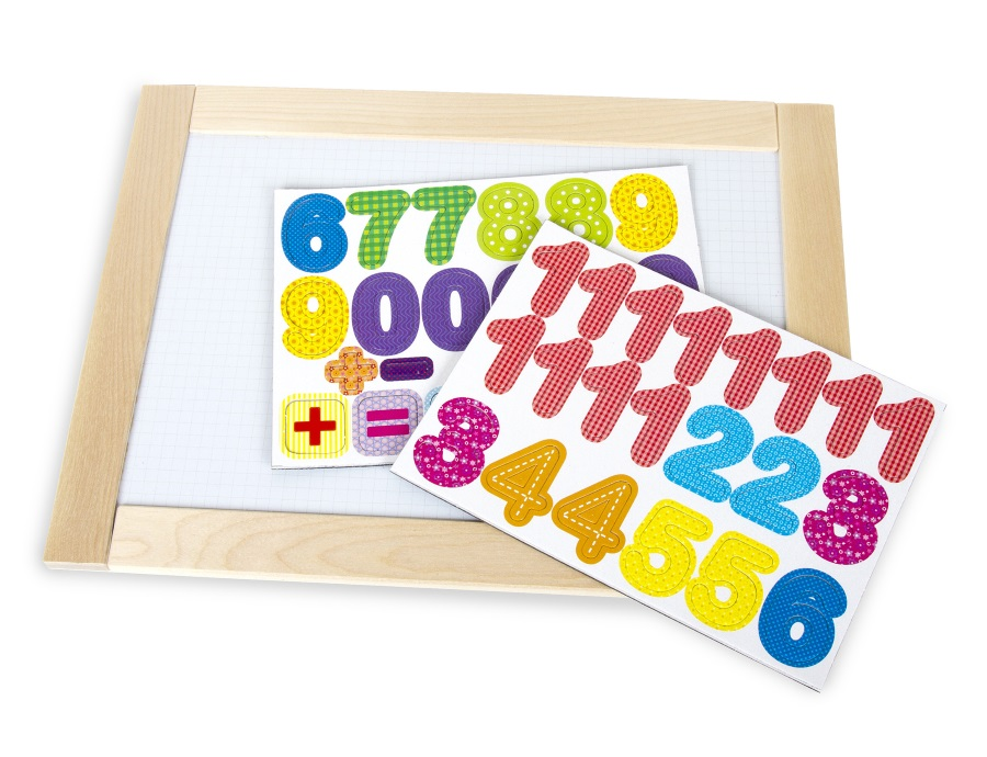 Доска двухсторонняя магнитно-маркерная с поддоном, русский алфавит, цифры, знаки, неокрашенная