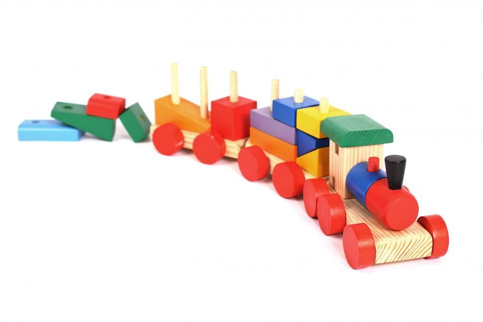 Купить Деревянный конструктор-паровозик, окрашенный, Paremo