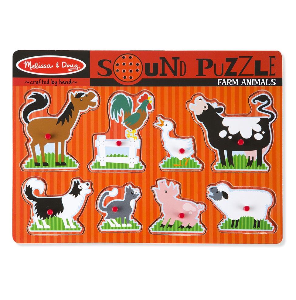 Купить Пазл со звуком – Ферма, 8 элементов, Melissa&Doug