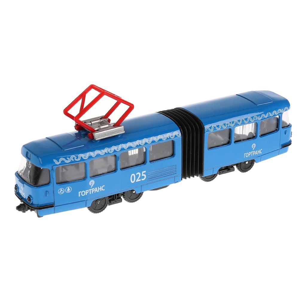 Купить Трамвай с гармошкой, 19 см, открываются двери, инерционный, Технопарк