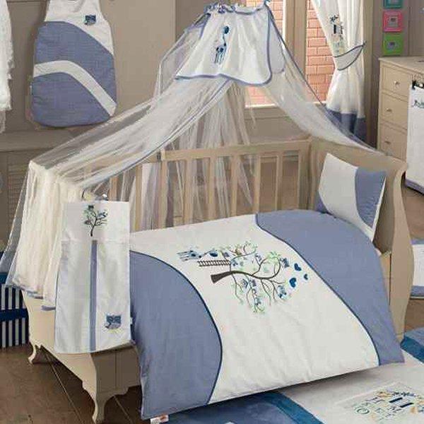 Комплект из 6 предметов - Sweet Home, синийДетское постельное белье<br>Комплект из 6 предметов - Sweet Home, синий<br>