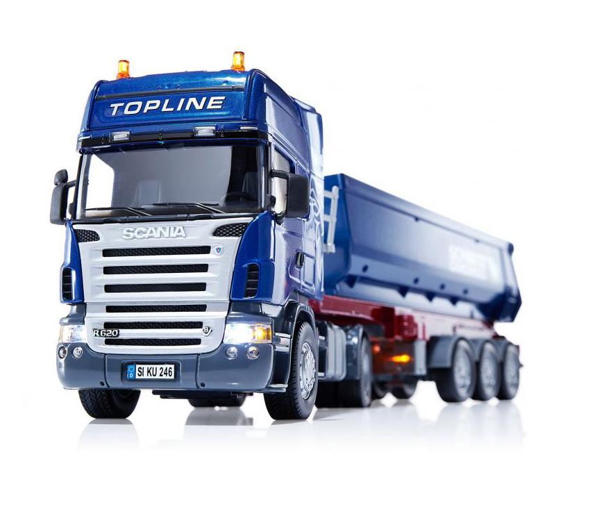 Грузовик Scania с опрокидывающимся прицепом, свет, 1:32