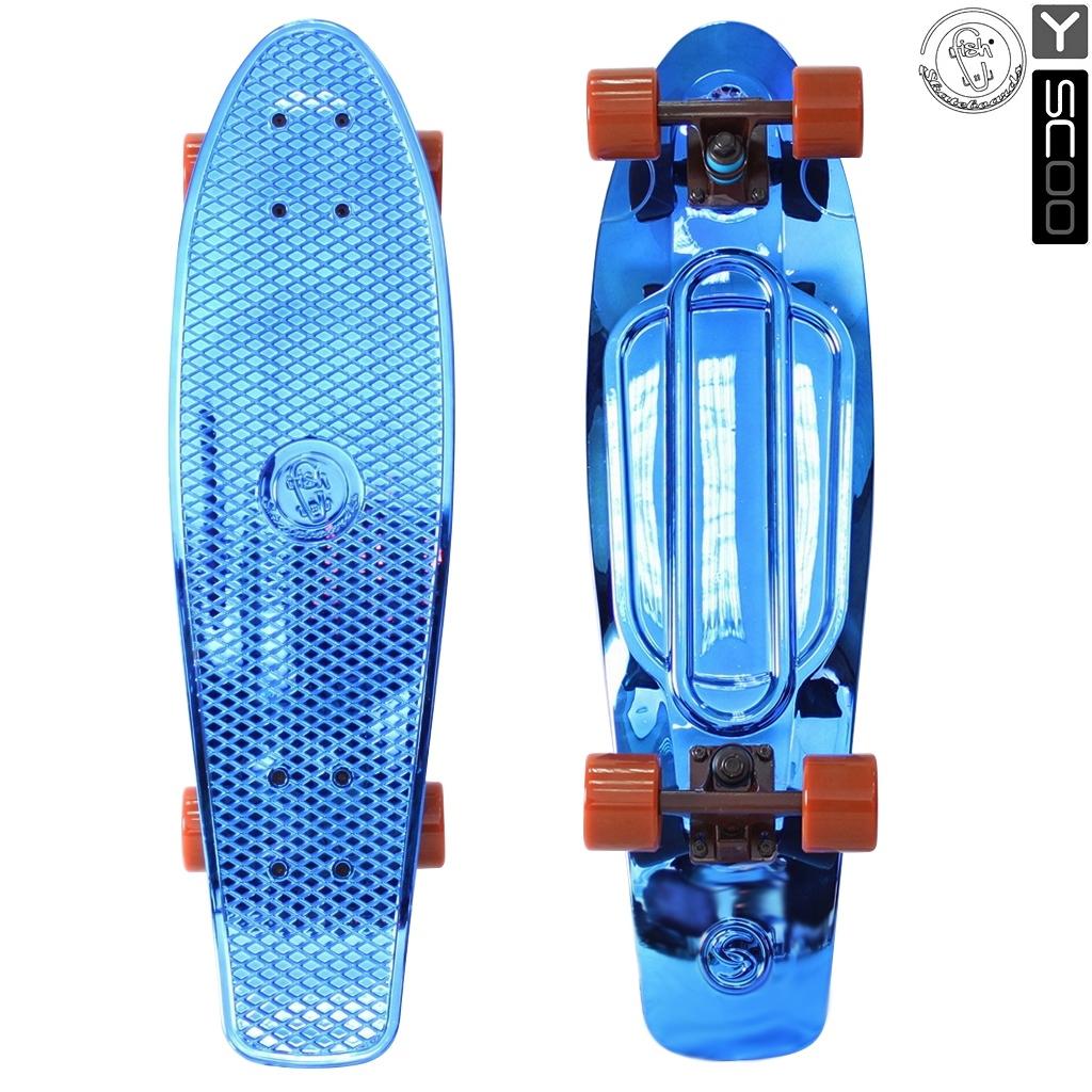 Скейтборд виниловый Y-Scoo Big Fishskateboard metallic 27 402H-Bl с сумкой, синий с коричневым колёсамиДетские скейтборды<br>Скейтборд виниловый Y-Scoo Big Fishskateboard metallic 27 402H-Bl с сумкой, синий с коричневым колёсами<br>