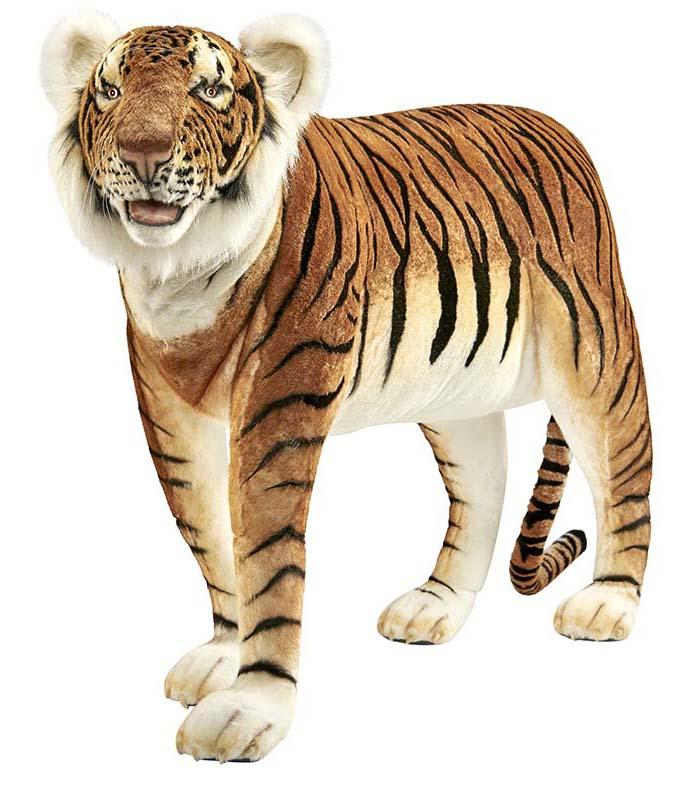 Купить Мягкая игрушка - Тигр стоящий, жаккард, 140 см, Hansa