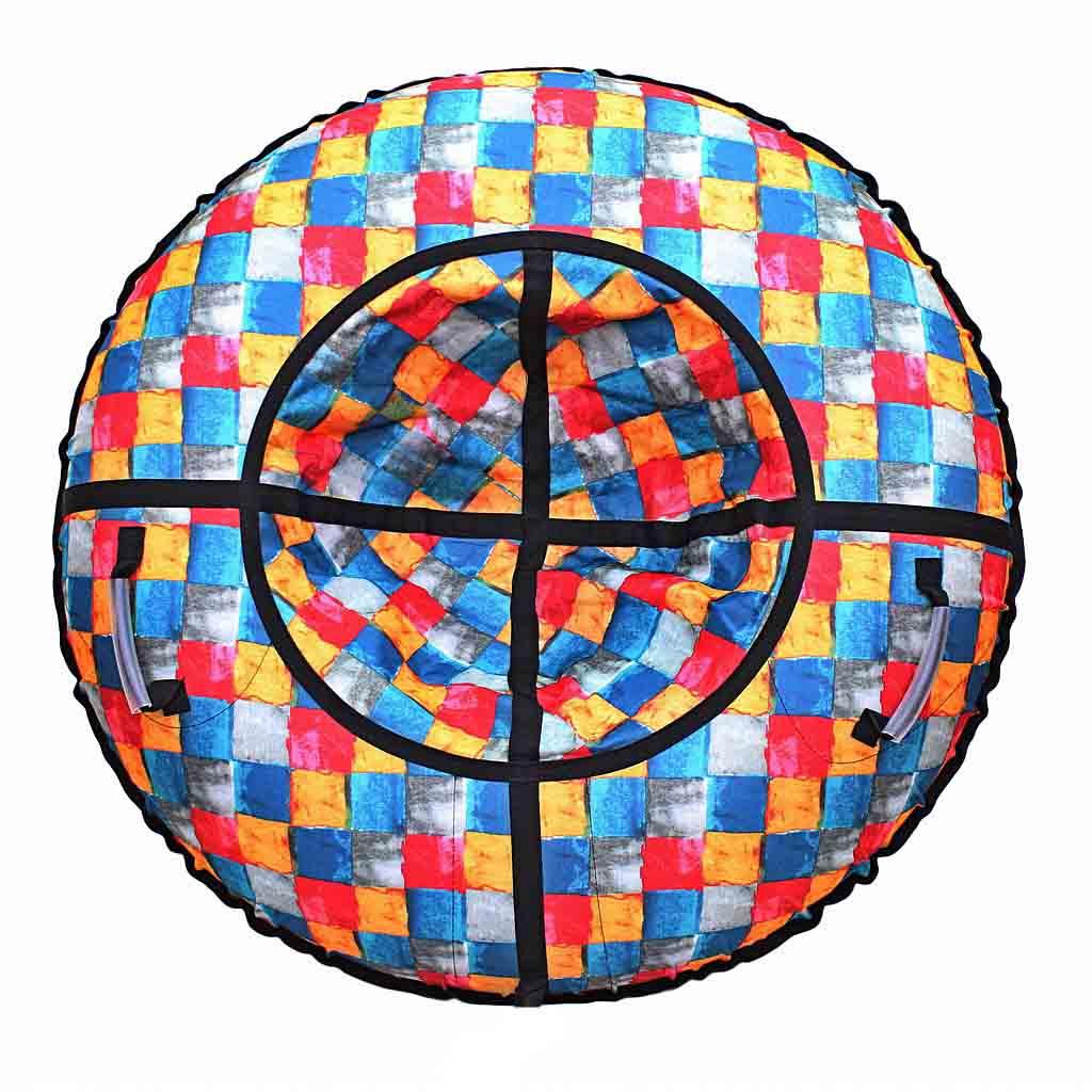 Санки надувные – Тюбинг, цветная мозаика, диаметр 105 смВатрушки и ледянки<br>Санки надувные – Тюбинг, цветная мозаика, диаметр 105 см<br>