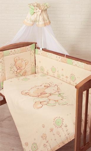 Комплект в кроватку – Mika, 7 предметов, зеленыйДетское постельное белье<br>Комплект в кроватку – Mika, 7 предметов, зеленый<br>