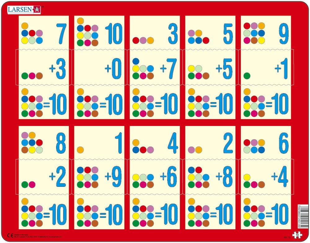 Купить Пазл - Сложение 1-10с, 10 элементов, Larsen