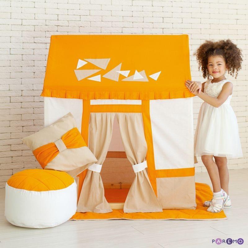 Текстильный домик-палатка с пуфиком для девочек и мальчиков - Замок СомерсетДомики-палатки<br>Текстильный домик-палатка с пуфиком для девочек и мальчиков - Замок Сомерсет<br>