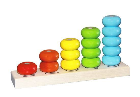 Купить Пирамидка деревянная Счеты, диаметр колец 40мм, окрашенная 5 цветов, 15 деталей, Десятое королевство