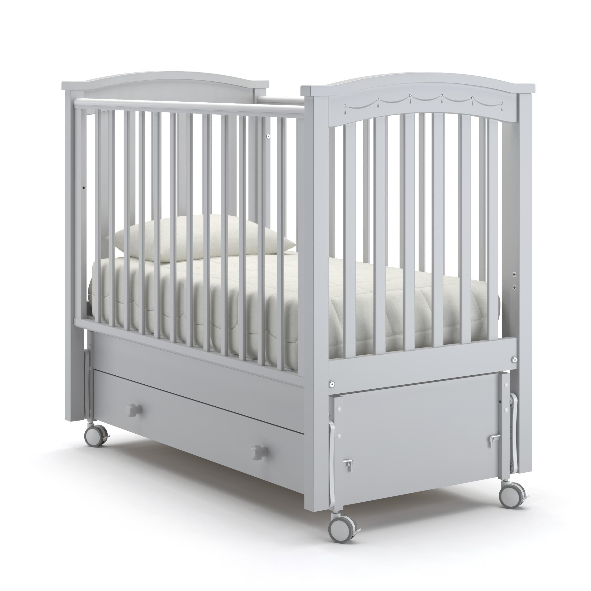 Купить Детская кровать Nuovita Perla solo swing продольный, цвет - Bianco/Белый