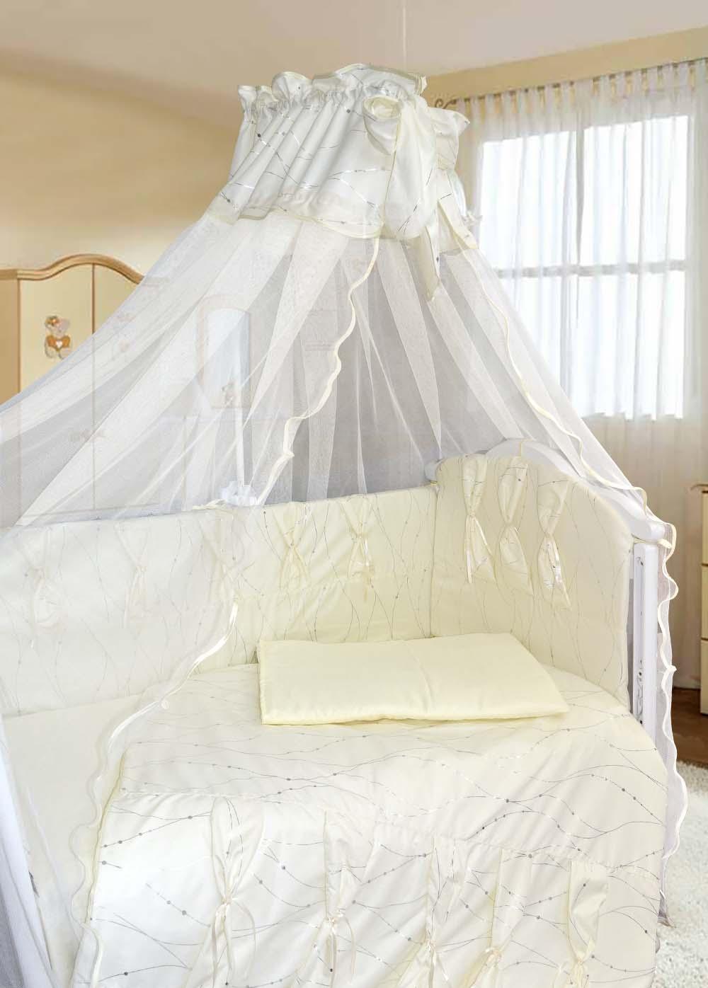 Комплект в кроватку - Нежность, 7 предметов, бежевыйДетское постельное белье<br>Комплект в кроватку - Нежность, 7 предметов, бежевый<br>