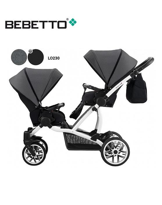 Купить Детская прогулочная коляска для двойни Bebetto 42 Sport - шасси белая/BIA - lo230