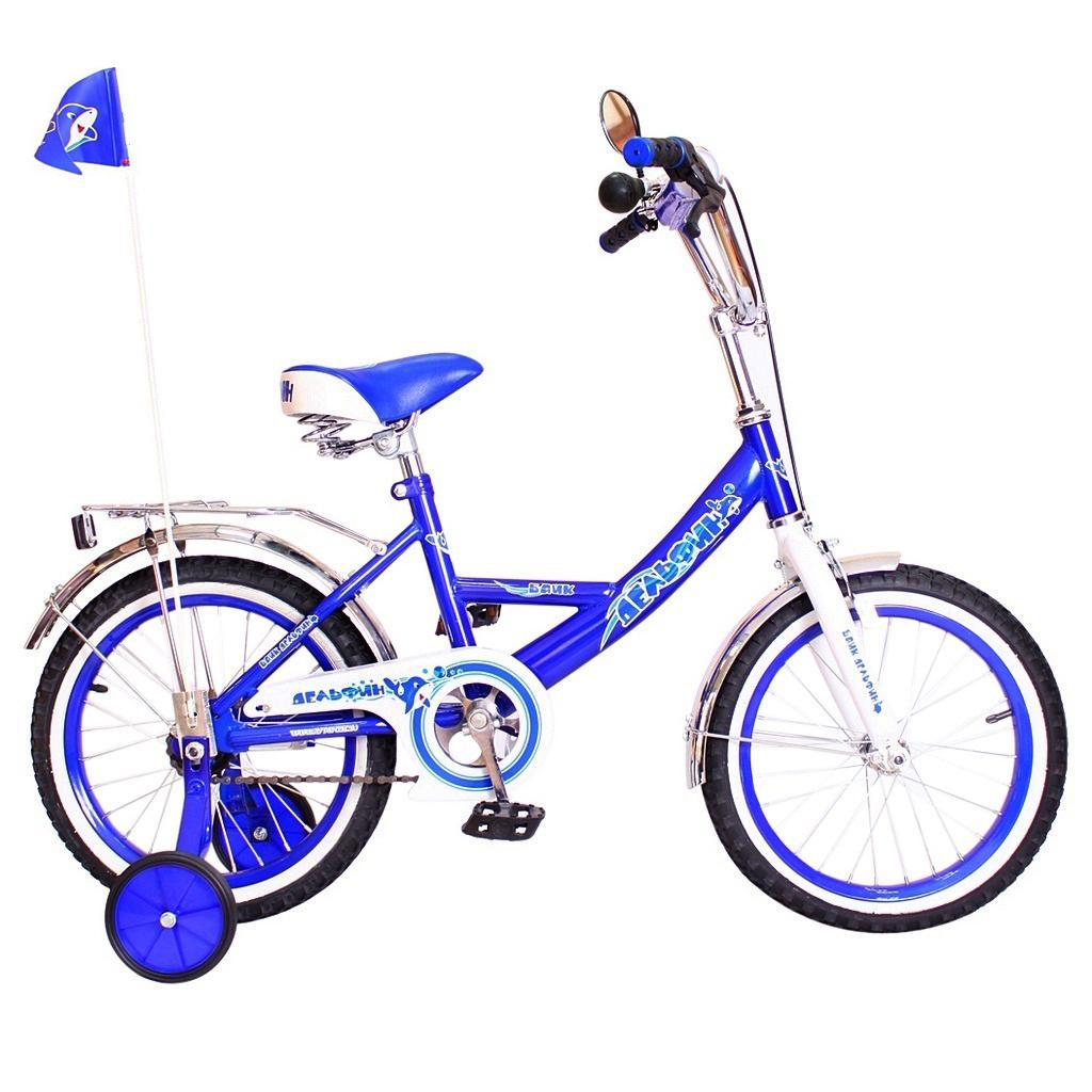 Двухколесный велосипед Дельфин, диаметр колес 14 дюймов, синийВелосипеды детские<br>Двухколесный велосипед Дельфин, диаметр колес 14 дюймов, синий<br>