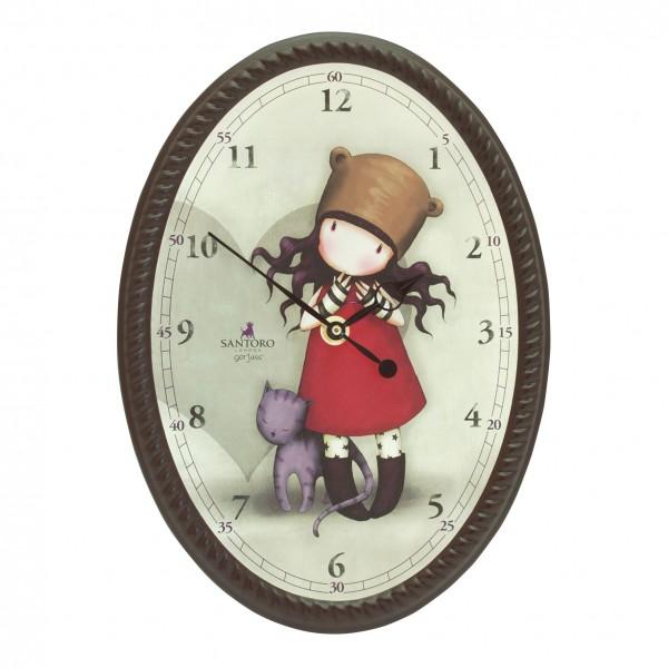 Овальные настенные часы -  Purrrrrfect Love из серии GorjussGorjuss Santoro London<br>Овальные настенные часы -  Purrrrrfect Love из серии Gorjuss<br>