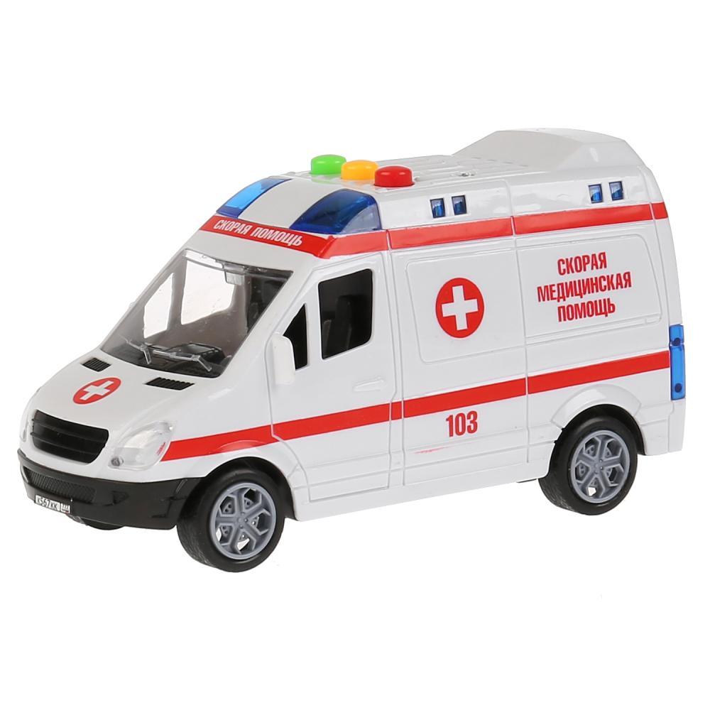 Скорая Помощь микроавтобус, 15, 5 см, инерционная, свет-звук, Технопарк  - купить со скидкой