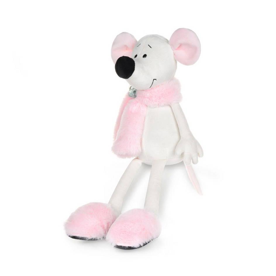 Крыса Василиса в розовом шарфике и тапочках, 23 см