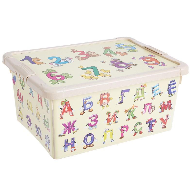 Ящик для игрушек с аппликацией «Алфавит и цифры», бежевыйКорзины для игрушек<br>Ящик для игрушек с аппликацией «Алфавит и цифры», бежевый<br>