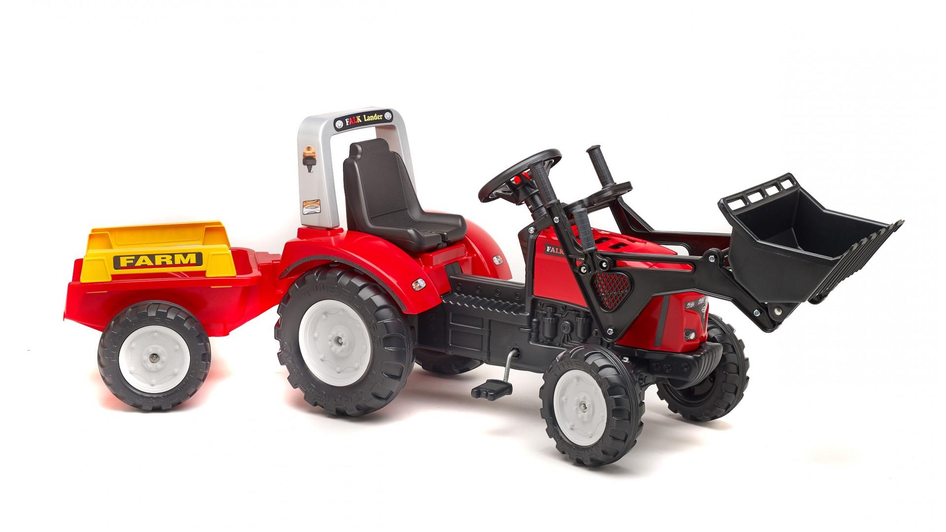 Трактор-экскаватор педальный с прицепом, красный 195 см