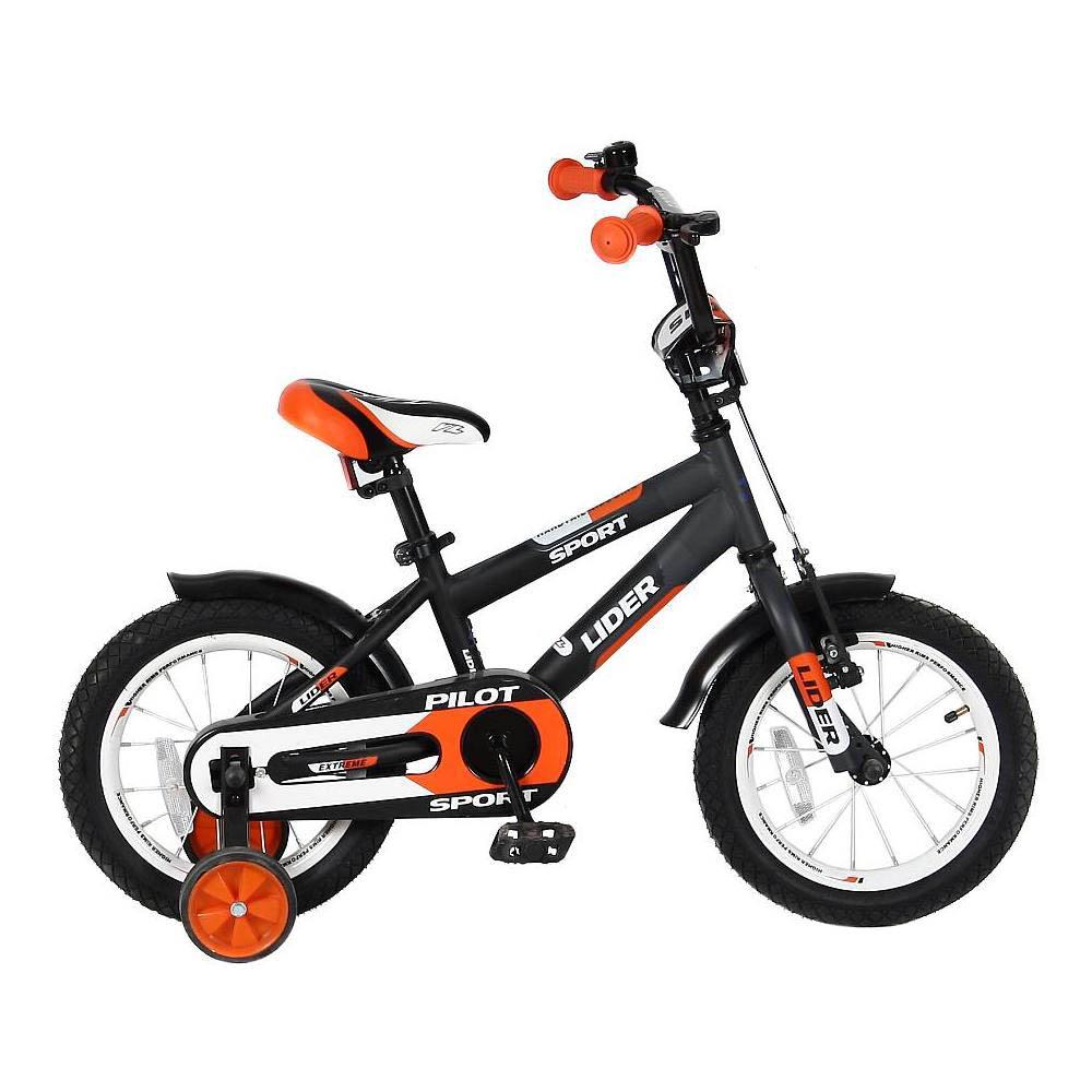 Двухколесный велосипед Lider Pilot, диаметр колес 14 дюймов, черный/оранжевыйВелосипеды детские<br>Двухколесный велосипед Lider Pilot, диаметр колес 14 дюймов, черный/оранжевый<br>