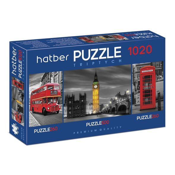 Купить Пазл Premium 260+500+260 элементов Triptych 3 картинки в 1 коробке – Лондон, размер 22 х 33 и 46 х 34 см, Hatber