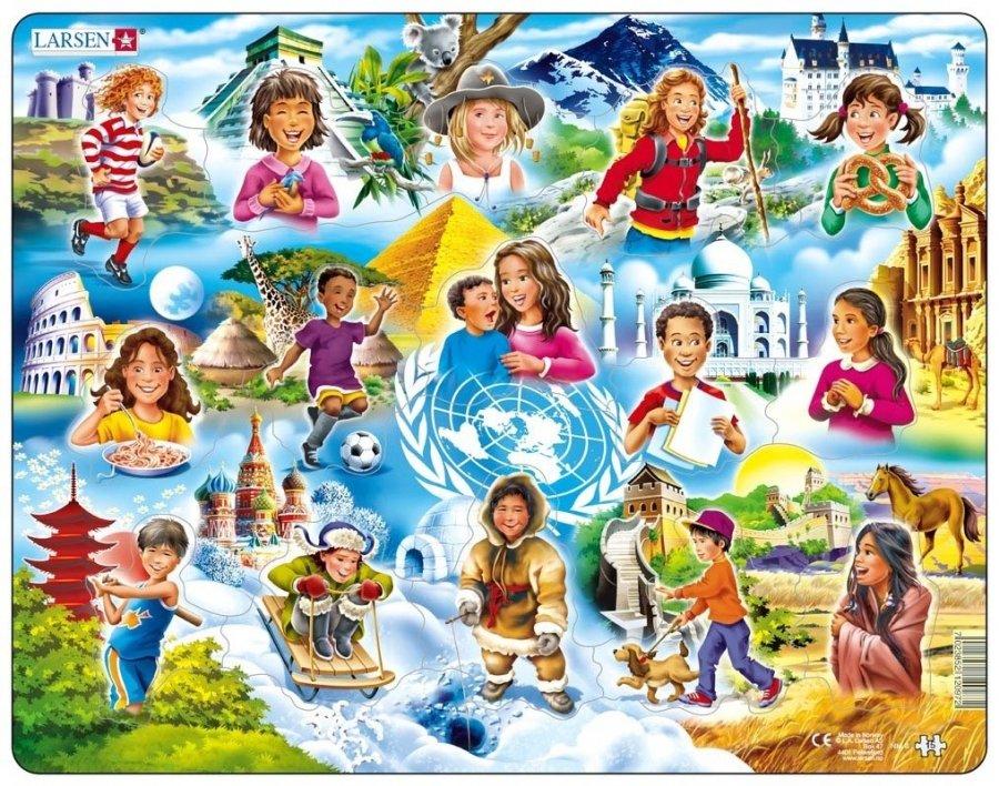 Пазл - Дети разных национальностей, 15 элементовПазлы для малышей<br>Пазл - Дети разных национальностей, 15 элементов<br>
