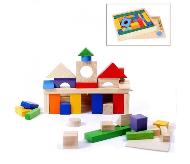 Купить Деревянный конструктор, 51 деталь, в деревянном ящике, Paremo