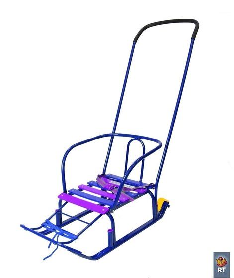 Санки с колесиками и высокой спинкой Считалочка - Девятка, синиеСанки и сани-коляски<br>Санки с колесиками и высокой спинкой Считалочка - Девятка, синие<br>