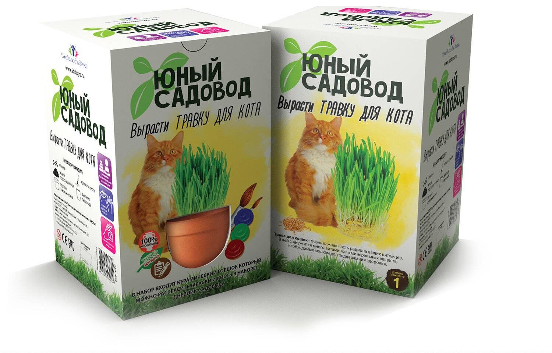 Набор для экспериментов Юный садовод - Вырасти травку для котаНаборы для выращивания растений<br>Набор для экспериментов Юный садовод - Вырасти травку для кота<br>