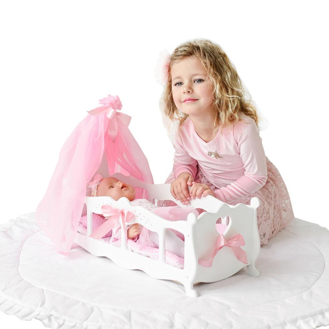 Купить Кроватка - колыбелька для кукол с постельным бельем и балдахином, цвет белый, Paremo