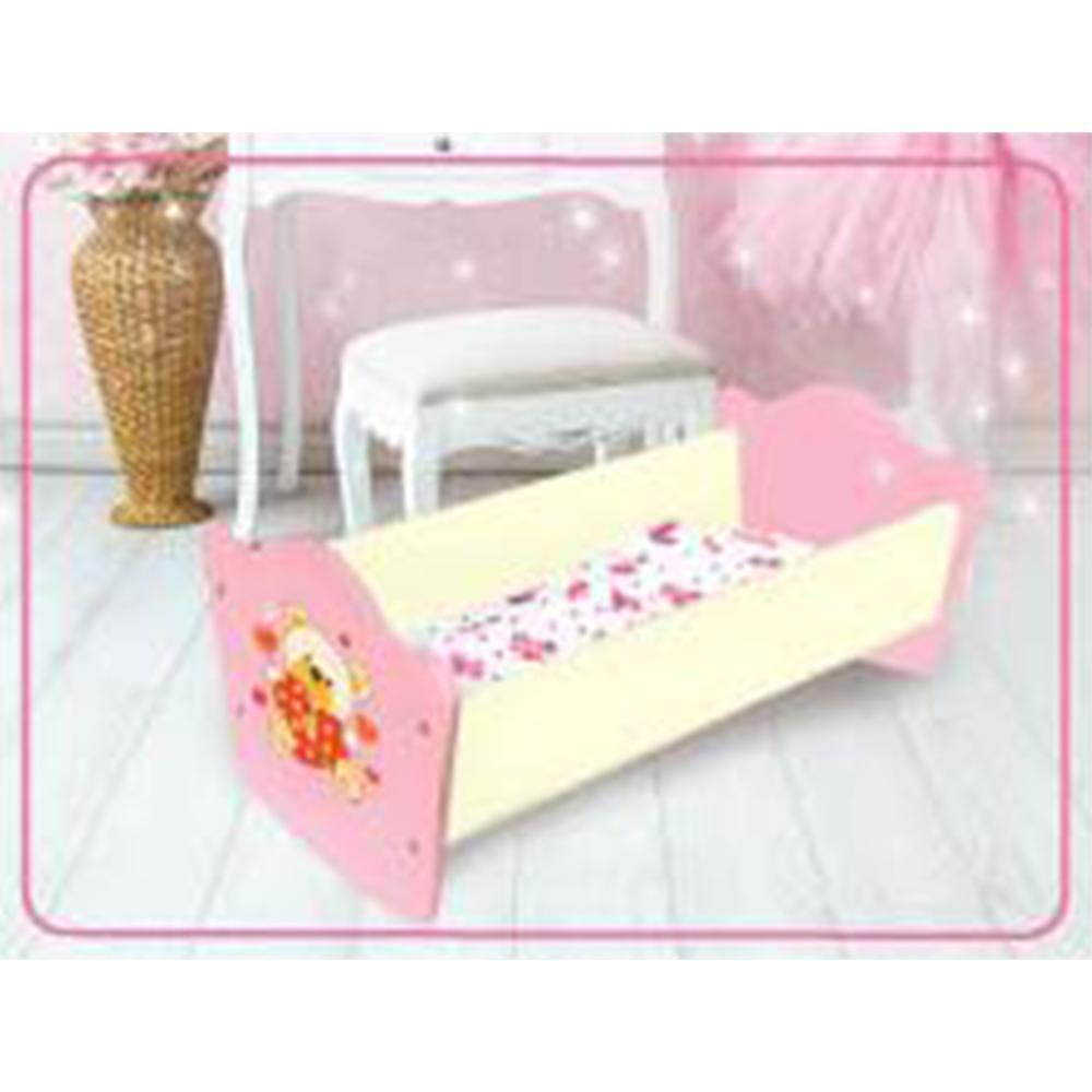 Кроватка для кукол деревянная - Мой мишка, 52 см., цельные боковины фото