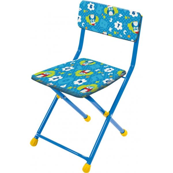 Купить Стул детский складной мягкий из моющейся ткани, голубой с совушками, Ника