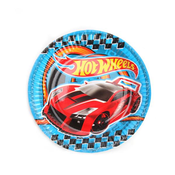Набор из 6-и бумажных тарелок - Hot Wheels, диаметр 18 см