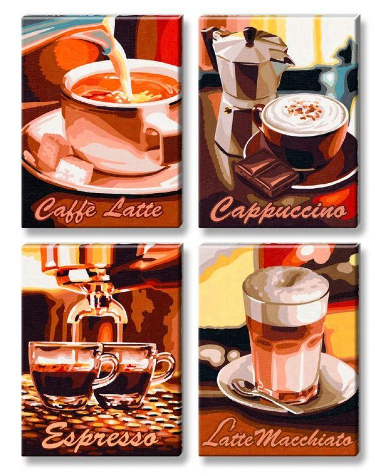 Кофе 4 картины, 18х24 смРаскраски по номерам Schipper<br><br>