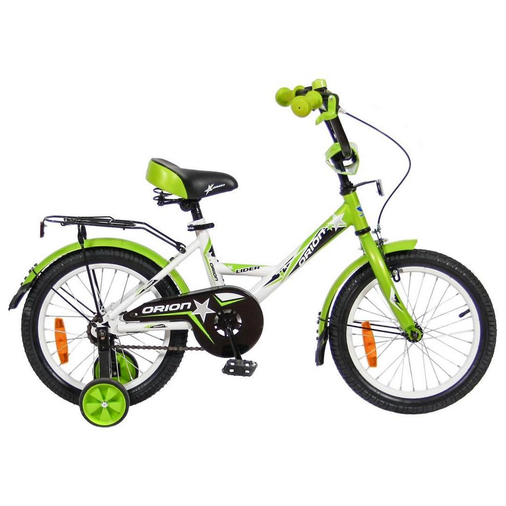 Двухколесный велосипед Lider Orion диаметр колес 16 дюймов, белый/зеленыйВелосипеды детские<br>Двухколесный велосипед Lider Orion диаметр колес 16 дюймов, белый/зеленый<br>