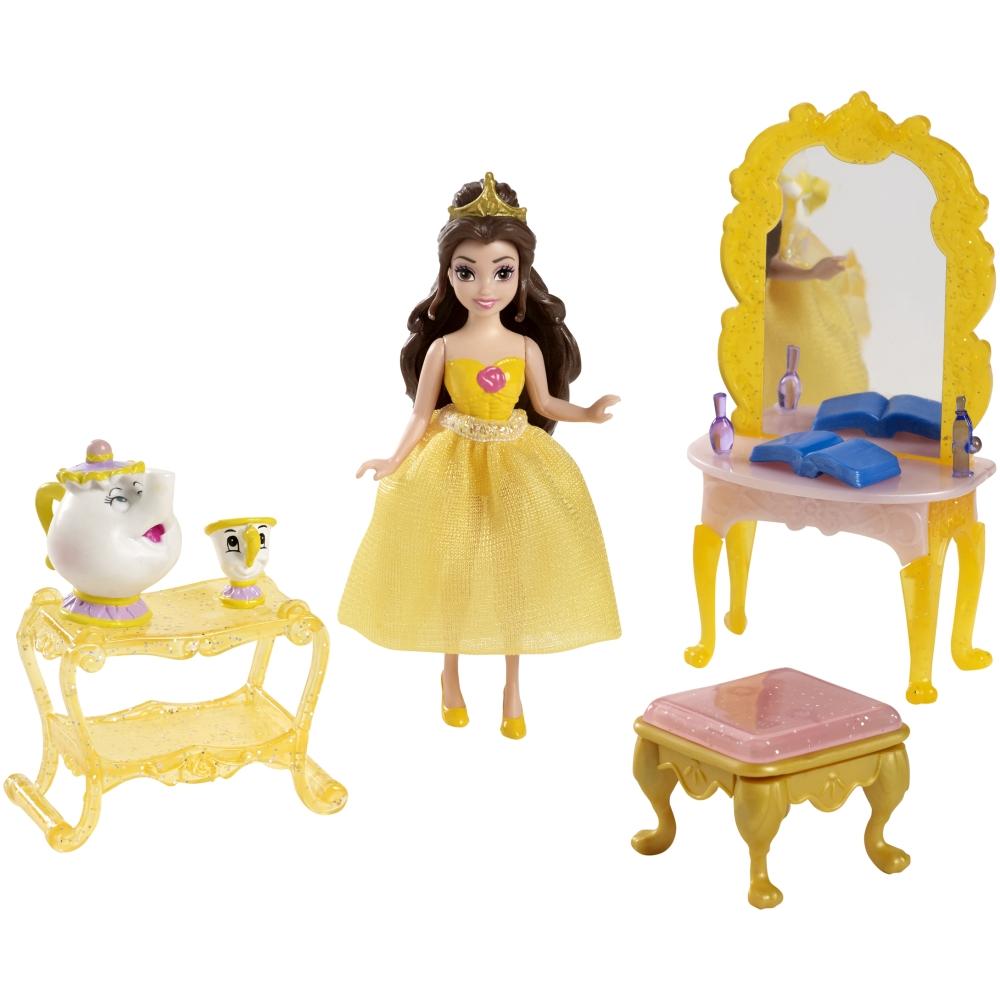 Игровой набор с мини-куклой Белль - сцена из сказки, 9 см.Белль<br>Игровой набор с мини-куклой Белль - сцена из сказки, 9 см.<br>