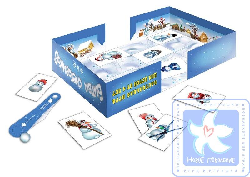 Настольная детская игра - Битва снеговиковРазвивающие<br>Настольная детская игра - Битва снеговиков<br>