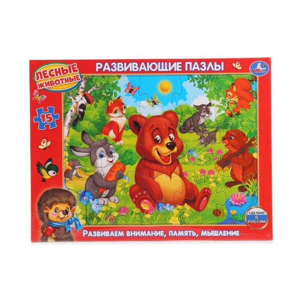Развивающий пазл в рамке – Лесные животные, 15 деталейПазлы для малышей<br>Развивающий пазл в рамке – Лесные животные, 15 деталей<br>