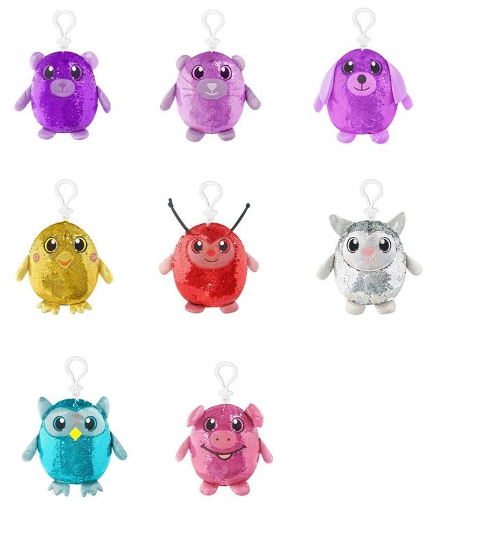Купить Мягконабивные фигурки животных в пайетках с карабином из серии Shimmeez Шиммиз, 9 см., 27 шт в дисплее, Beverly Hills Teddy Bear