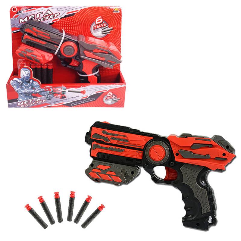 Мегабластер в наборе с 6 мягкими снарядами, в открытой коробкеАвтоматы, пистолеты, бластеры<br>Мегабластер в наборе с 6 мягкими снарядами, в открытой коробке<br>