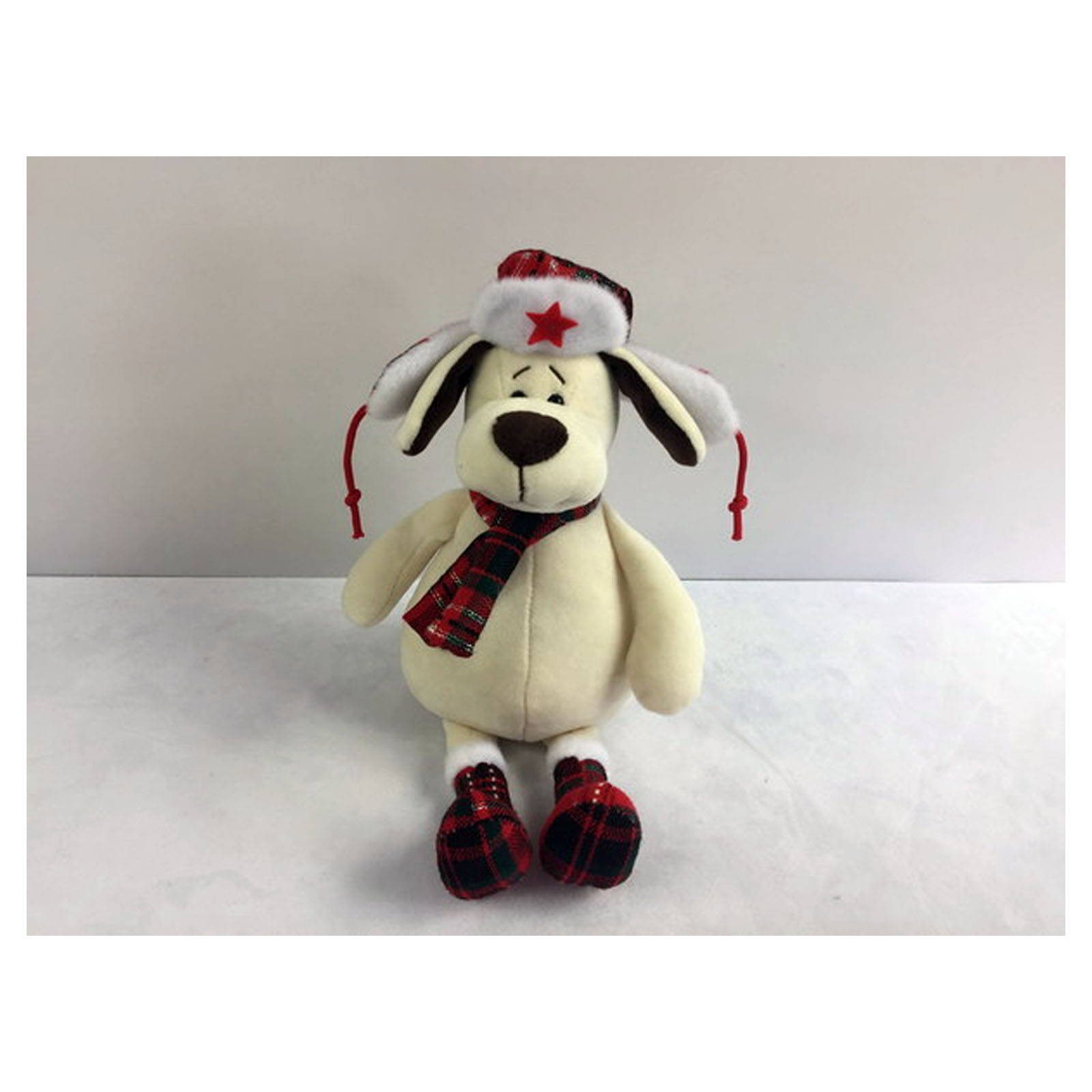 Мягкая игрушка - Собака в ушанке с шарфом, 24 см.Собаки<br>Мягкая игрушка - Собака в ушанке с шарфом, 24 см.<br>