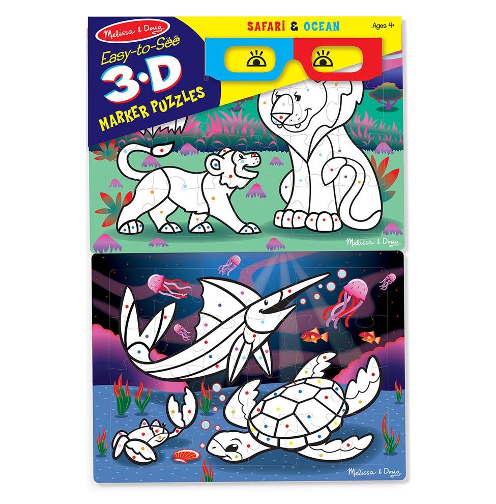 Купить Набор для творчества с 3D очками - Раскрась по цветам, Сафари/Океан, Melissa&Doug